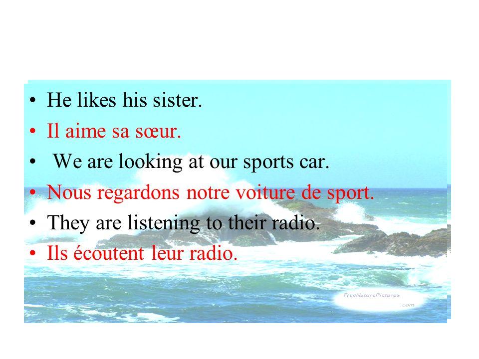He likes his sister. Il aime sa sœur. We are looking at our sports car. Nous regardons notre voiture de sport.