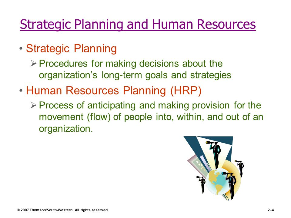 human resource planning and organizational strategy Successful businesses have a strategic vision and know how to implement it in this lesson, you'll learn how human resource management (hrm) can align its organizational functions with the overall strategy of its organization.