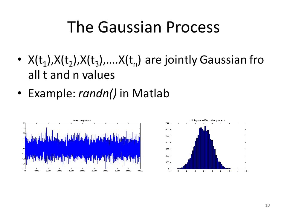 The Gaussian Process X(t1),X(t2),X(t3),….X(tn) are jointly Gaussian fro all t and n values.