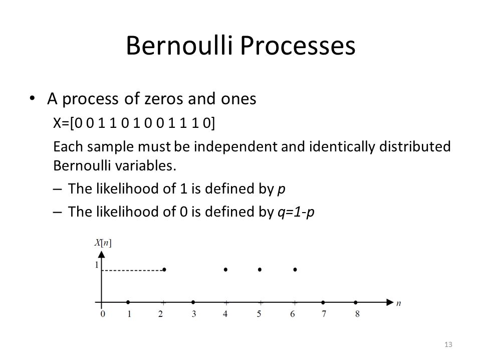 Bernoulli Processes A process of zeros and ones