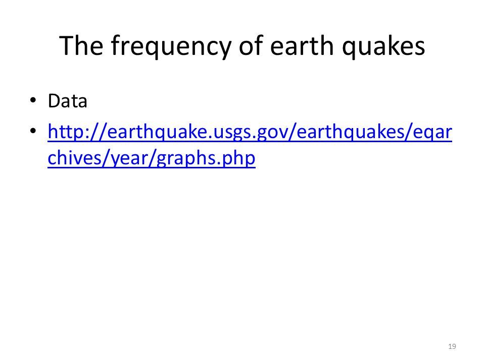 The frequency of earth quakes