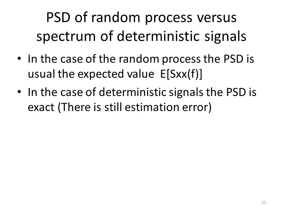 PSD of random process versus spectrum of deterministic signals