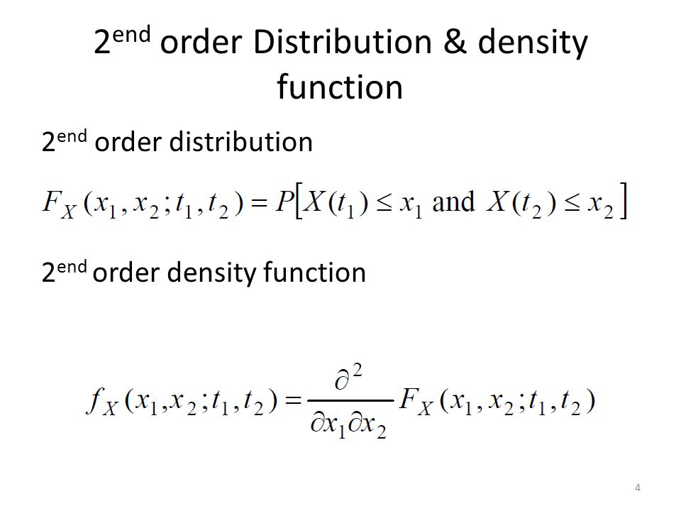 2end order Distribution & density function