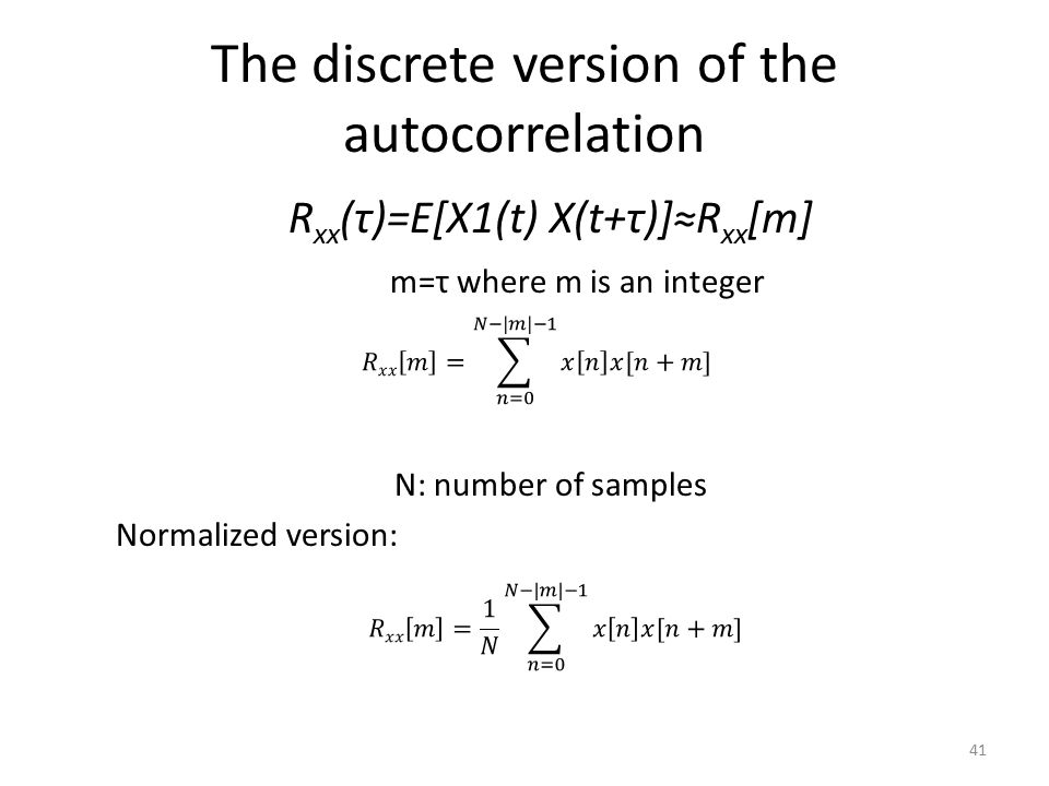 The discrete version of the autocorrelation