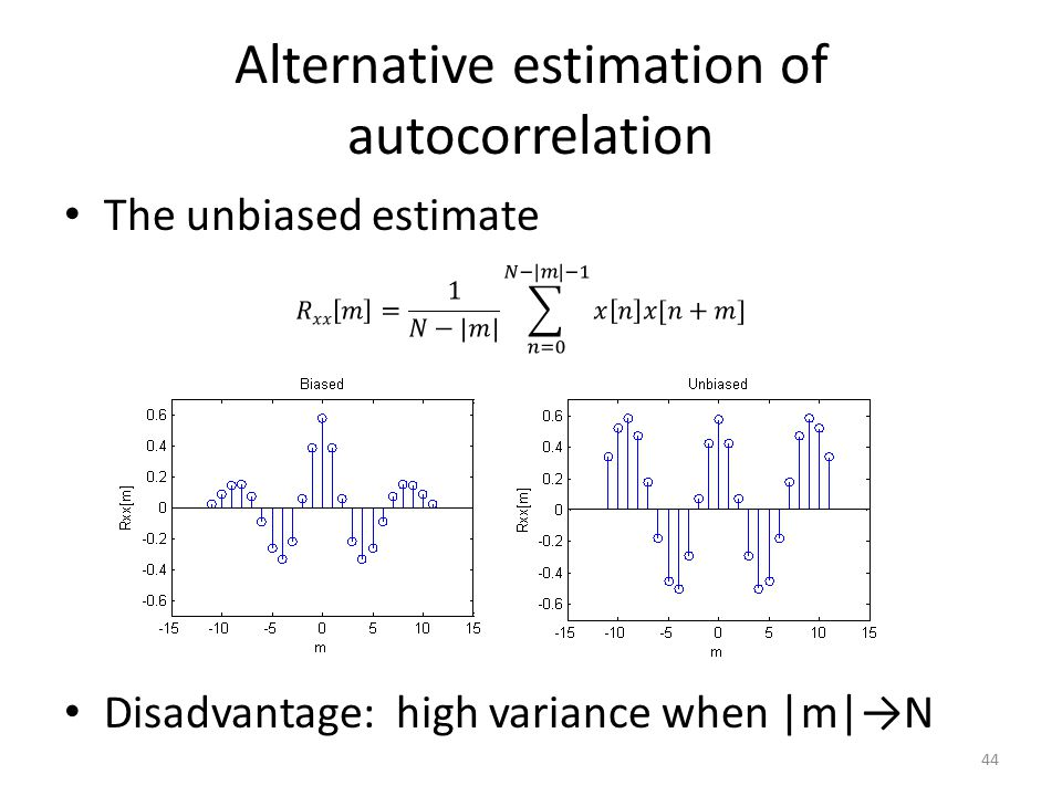 Alternative estimation of autocorrelation