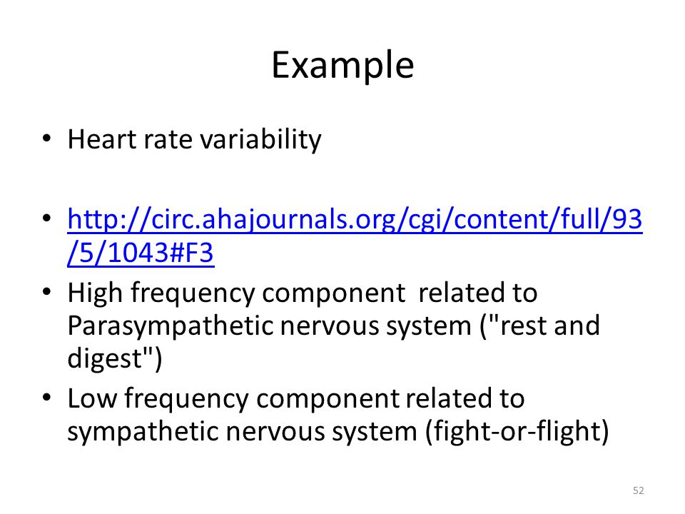 Example Heart rate variability