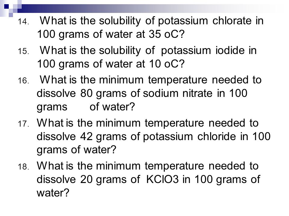 solubility and grams For example, table salt has a solubility of 36 grams per 100 ml of water at room  temperature this means that we can dissolve 36 grams of salt in every 100 ml.