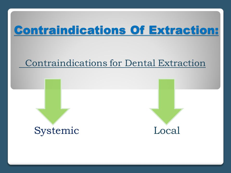 Contraindications Of Extraction: