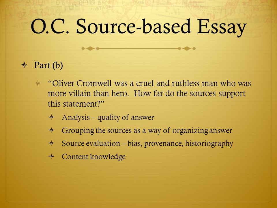 source based essay Encing—form the basis of authority in text-based writing and a personal essay on the same topic in a teachers can provide a source-based text and have.