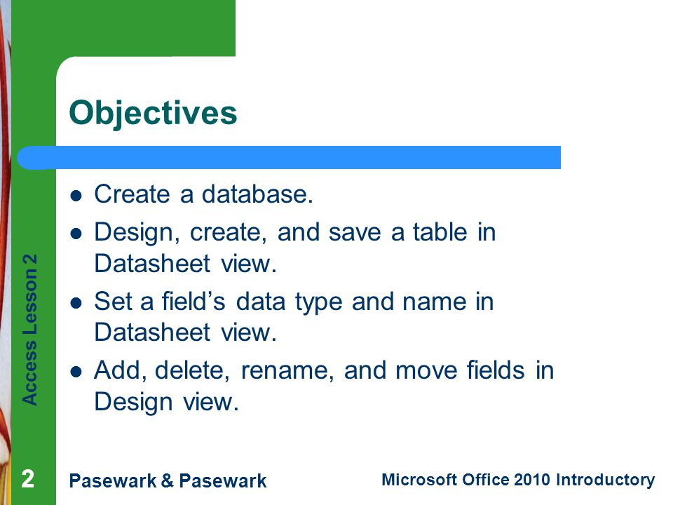 Objectives Create a database.