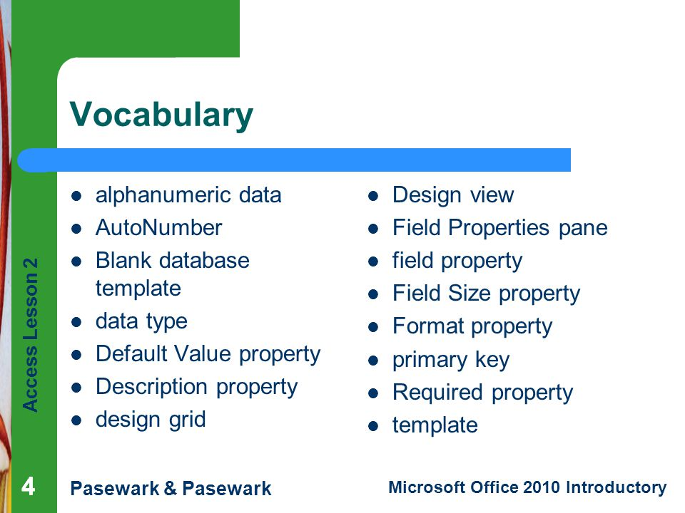 Vocabulary 4 4 alphanumeric data AutoNumber Blank database template