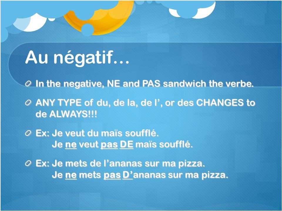 Au négatif… In the negative, NE and PAS sandwich the verbe.