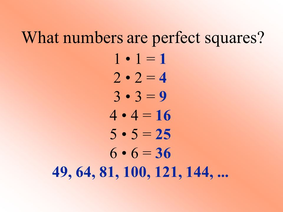 What numbers are perfect squares