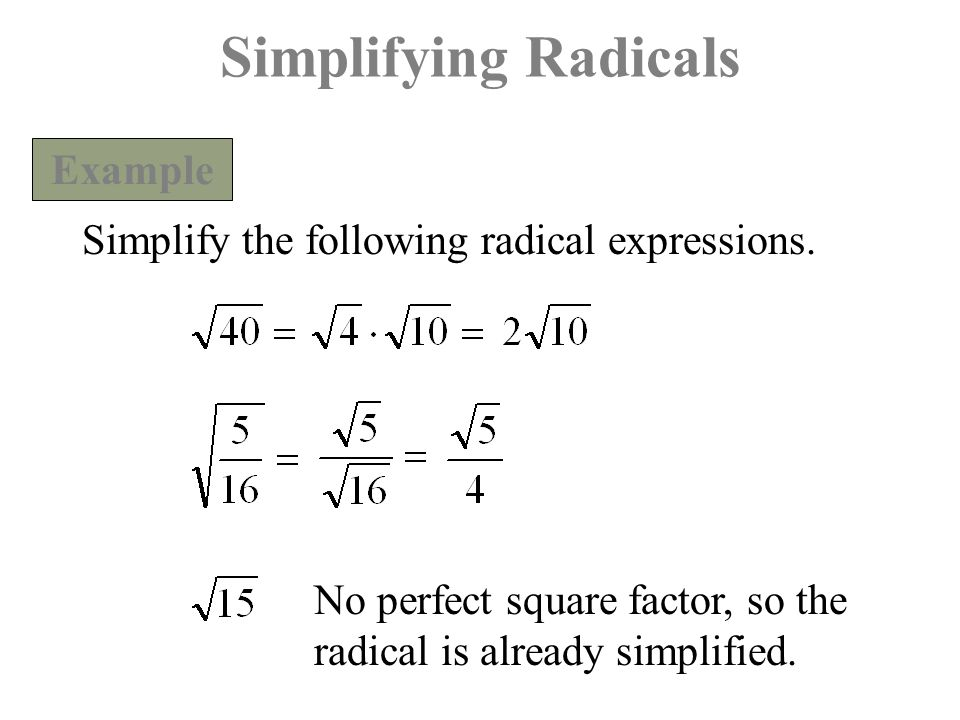Simplifying Radicals Example