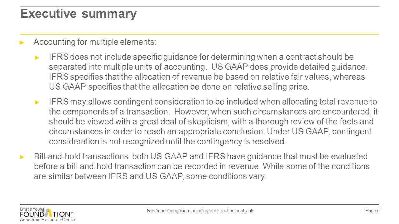executive summary revenue recognition and wareham The new revenue recognition standard (asc topic 606) represents a  quality  application of the standard, i believe executive management,.