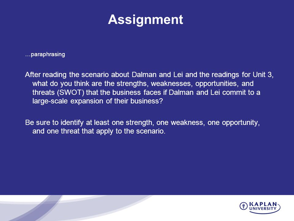 dalman lei This week's assignment consists of reading a scenario about sandwich blitz, inc and writing about what strengths, weaknesses, opportunities, and threats (swot) that the business faces if dalman and lei commit to a large-scale expansion of their businessin this assignment on creating a business swot analysis for sandwich blitz, you will.