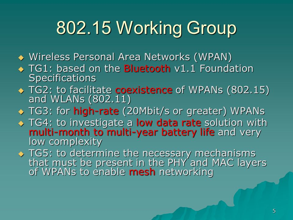wireless personal area networks wpans ppt 5 802 15