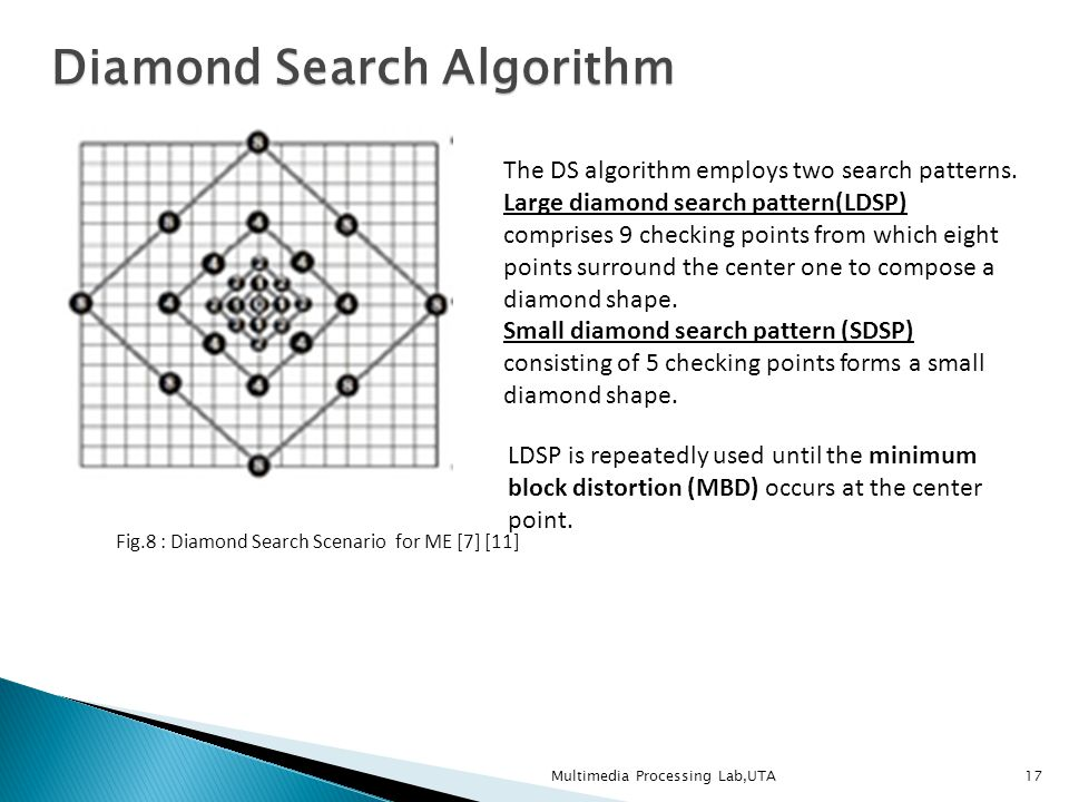 of lab blockmatching algorithms comparison univalle motion matching estimation diamond a search ccc mmv block