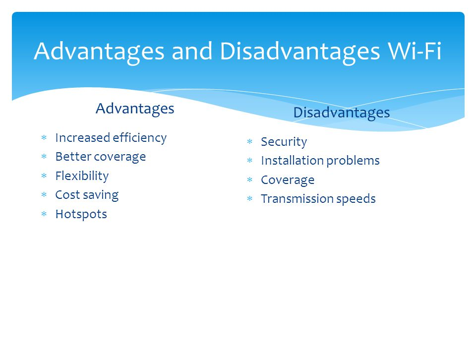 Disadvantages or Problems for Implementing Wi-Fi Technology