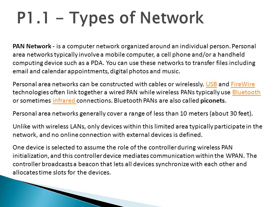 P1.1 - Types of Network