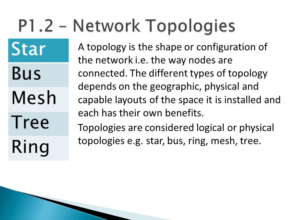 Star Bus Mesh Tree Ring P1.2 – Network Topologies