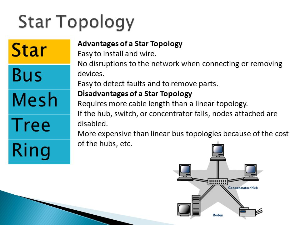 Star Bus Mesh Tree Ring Star Topology Advantages of a Star Topology