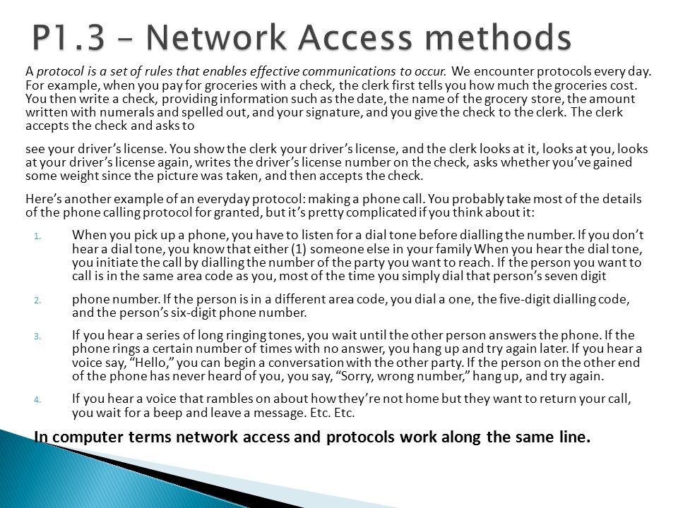 P1.3 – Network Access methods