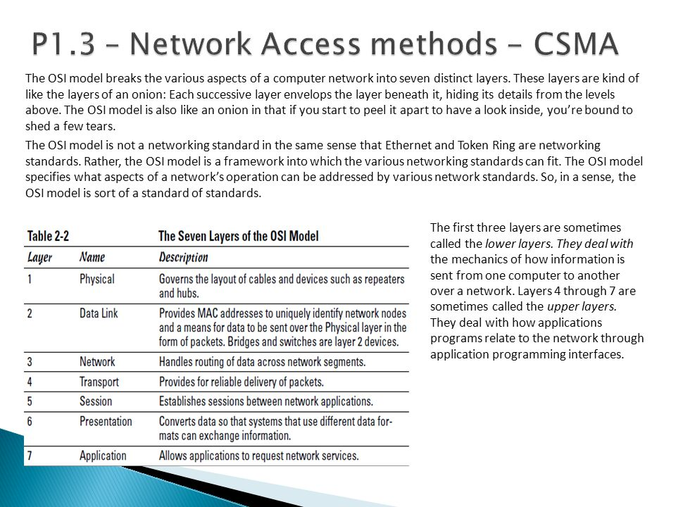 P1.3 – Network Access methods - CSMA