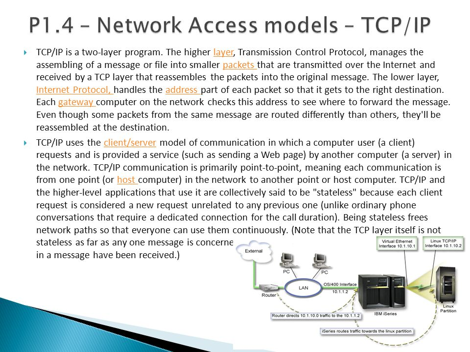 P1.4 – Network Access models – TCP/IP