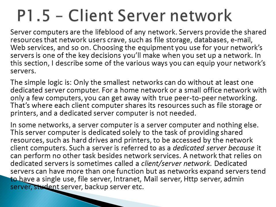 P1.5 – Client Server network