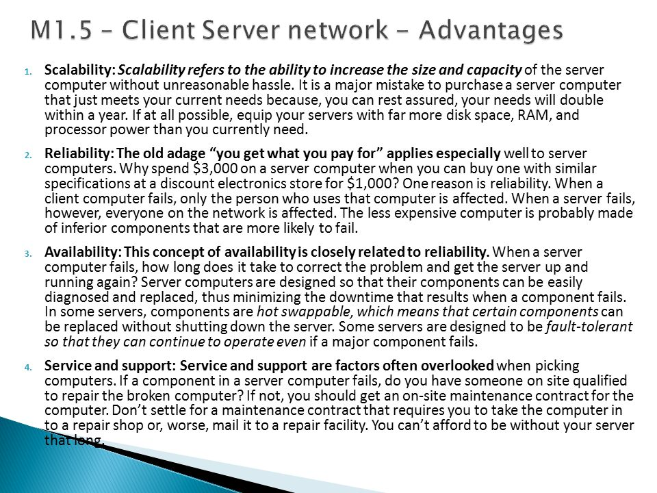M1.5 – Client Server network - Advantages