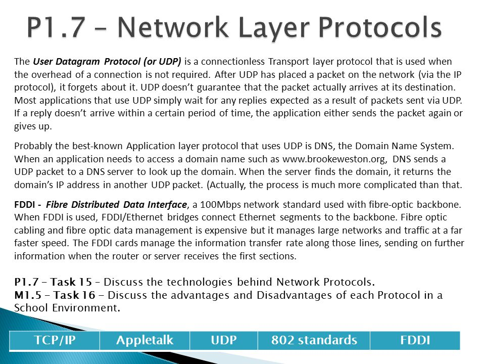 P1.7 – Network Layer Protocols