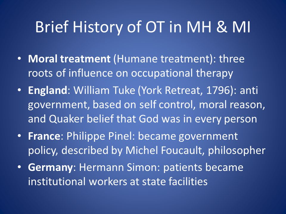history of occupational therapy Home about us  about the association  history about occupational therapy about the association history divisions australian occupational therapy journal association awards interest & regional groups wfot ahpa governance membership research foundation.
