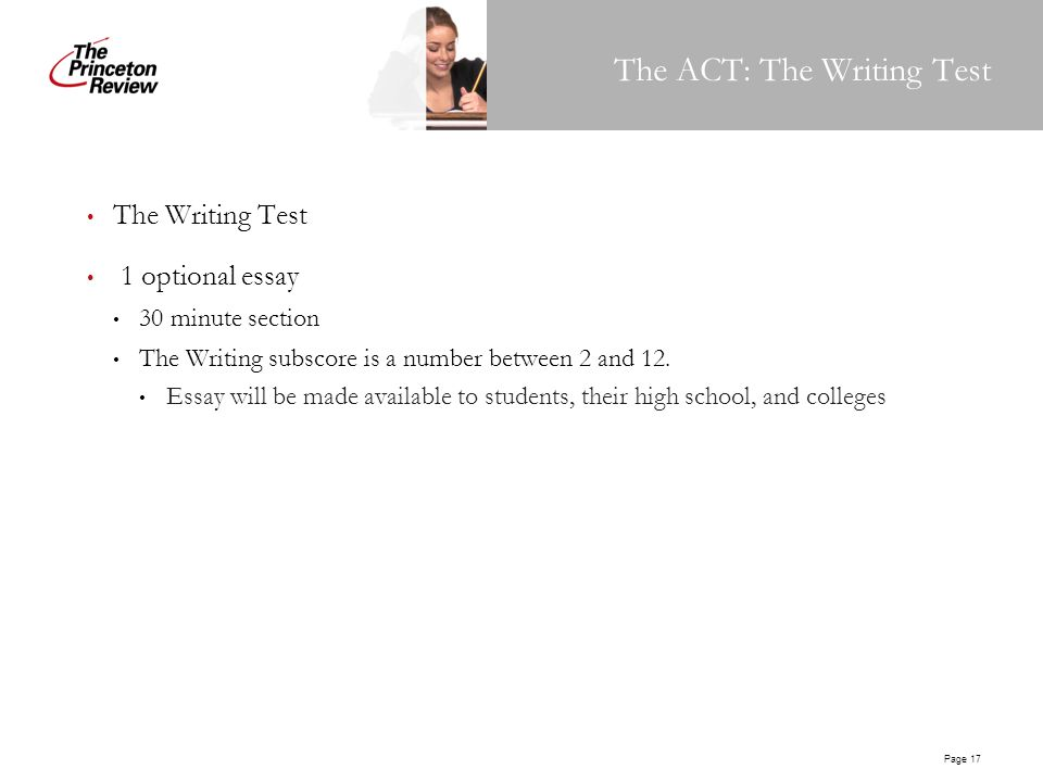 act writing section What's a good act writing score check out this up-to-date percentile data to determine what score you should aim for on the act writing section.