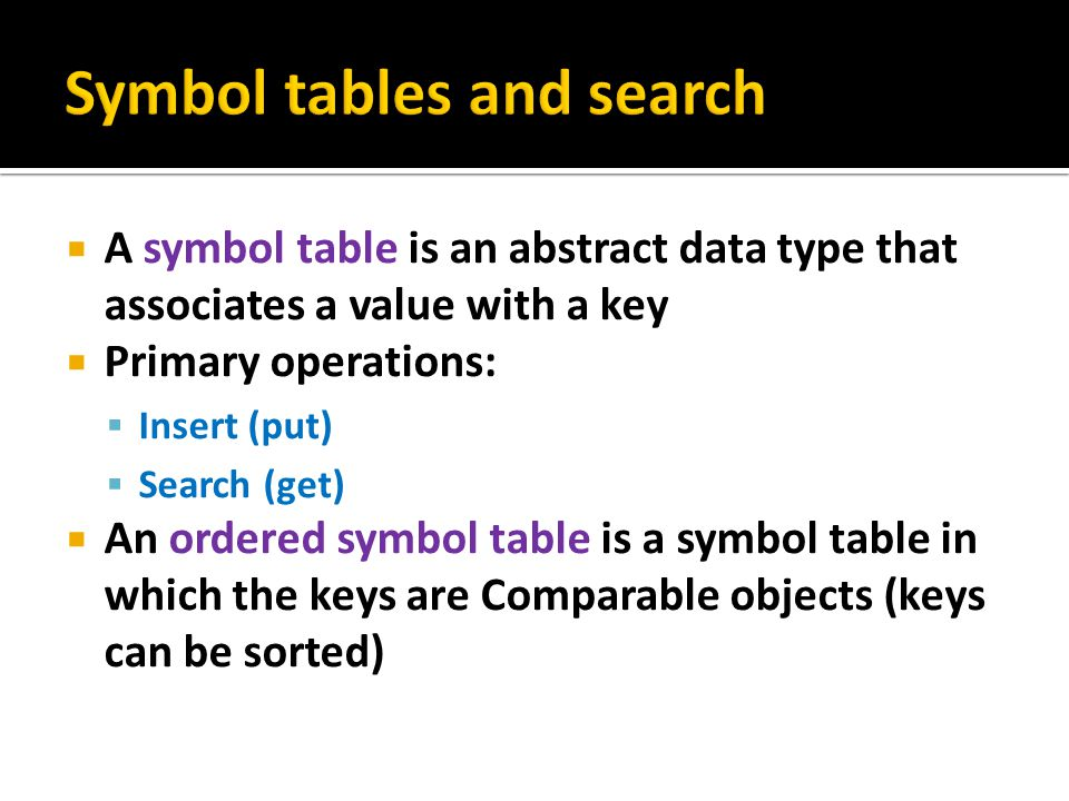 Symbol tables and search