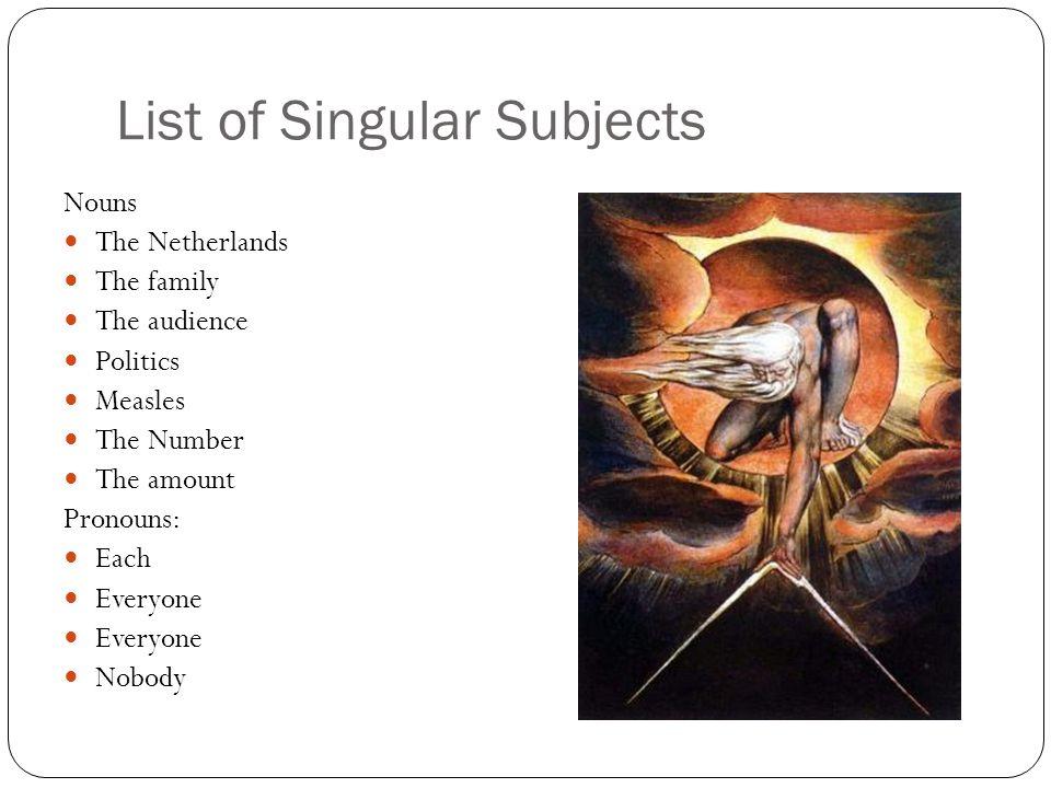 List of Singular Subjects