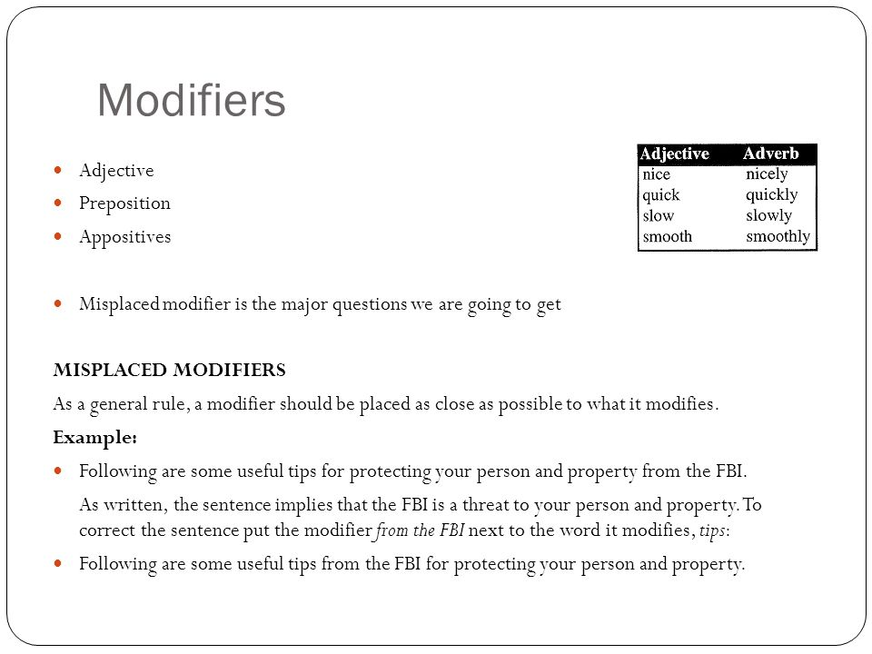 Modifiers Adjective Preposition Appositives