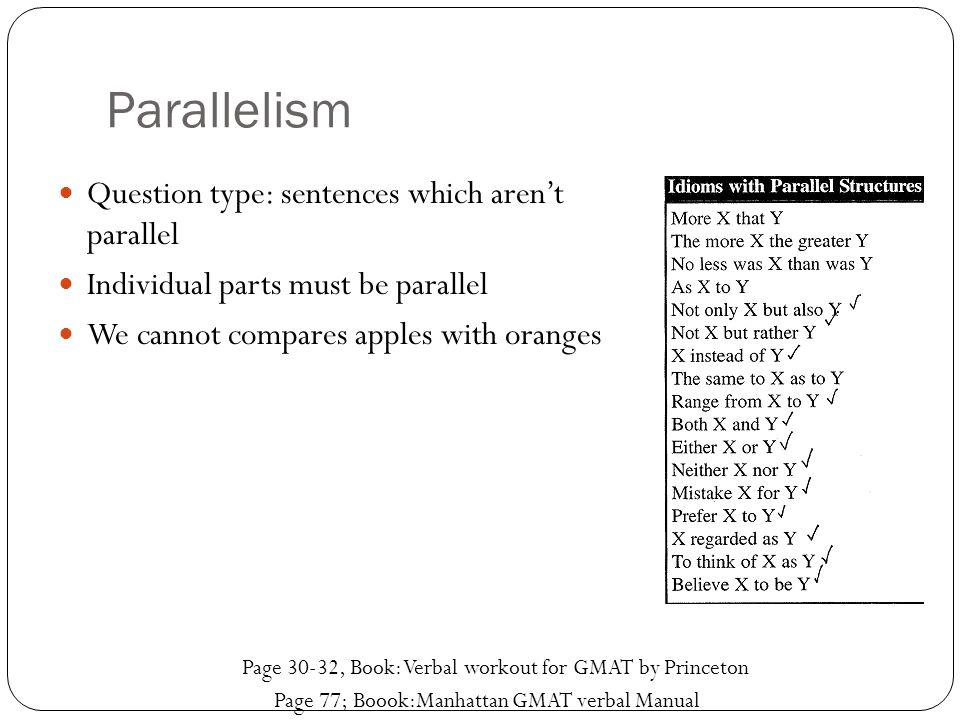 Parallelism Question type: sentences which aren't parallel