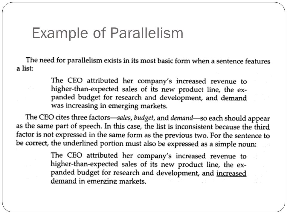 Example of Parallelism