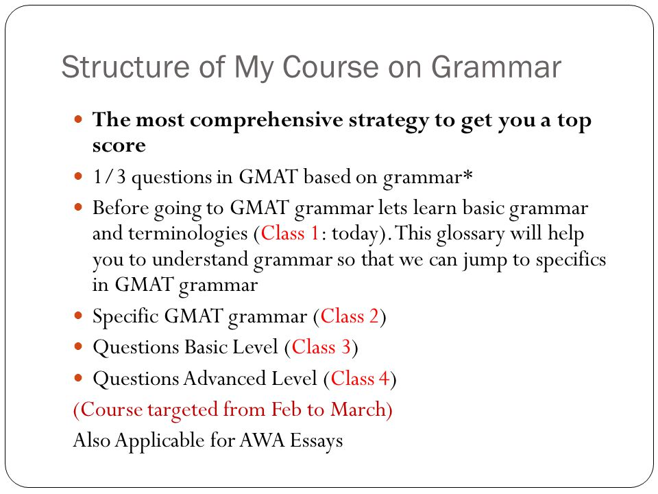 Structure of My Course on Grammar