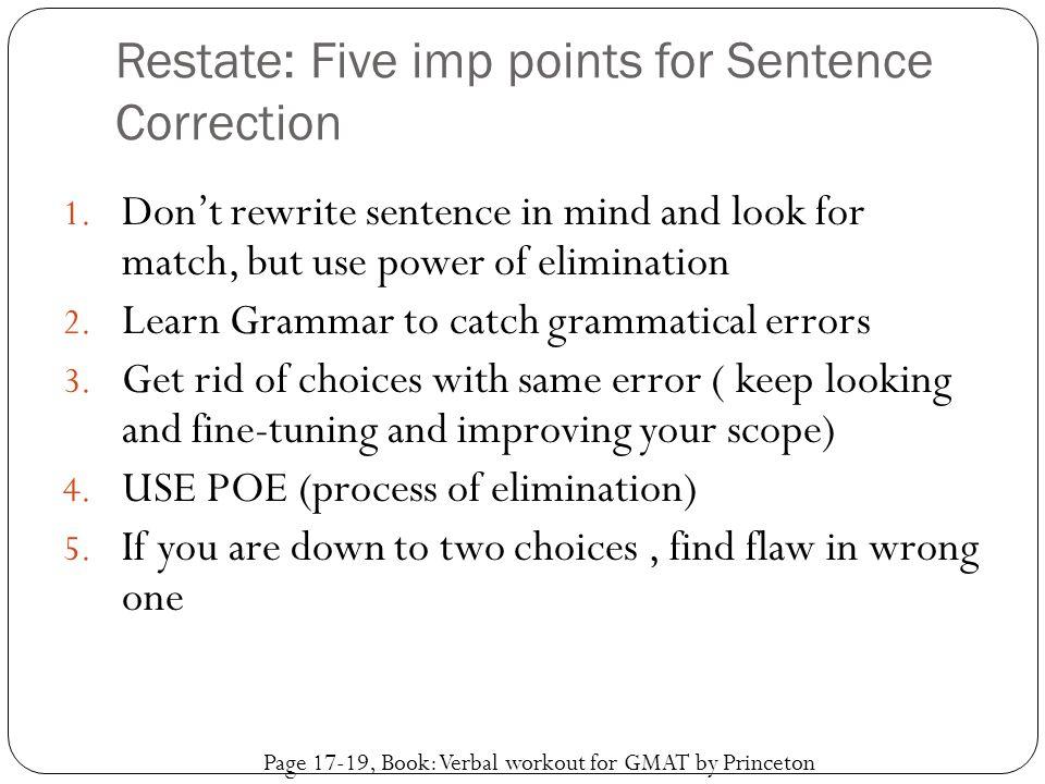 Restate: Five imp points for Sentence Correction
