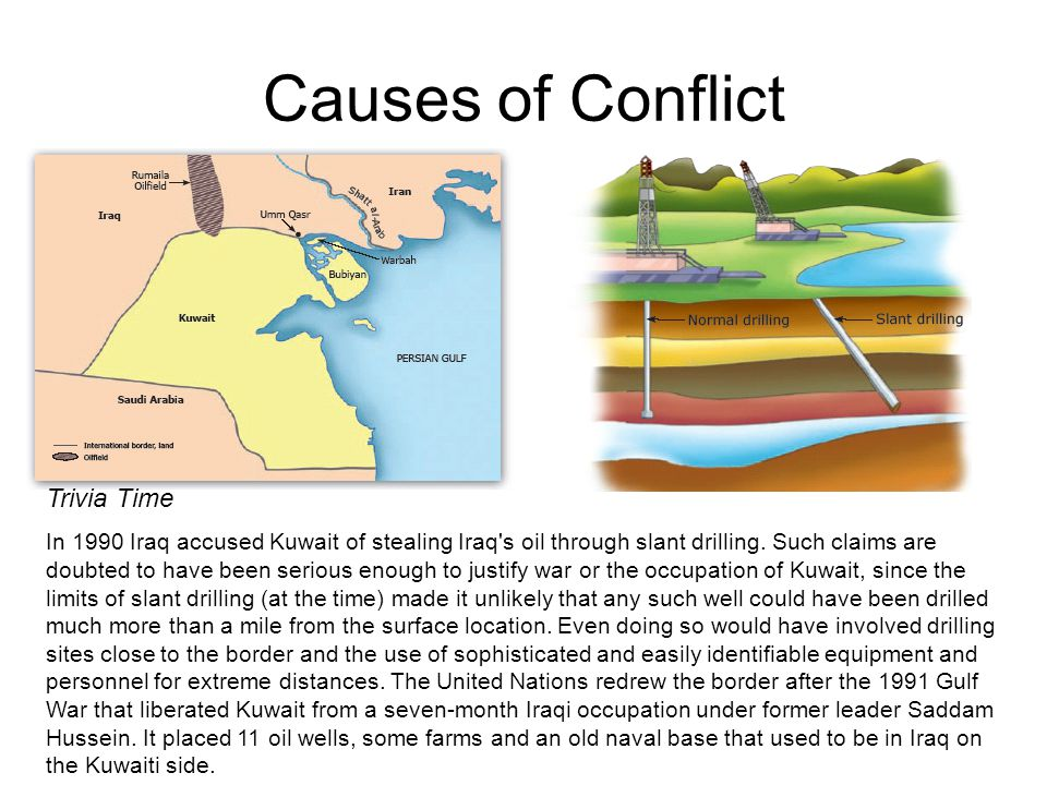 causes of iraq and kuwait conflict Iraqi forces destroyed more than seven hundred oil wells in kuwait, spilling sixty   other environmental effects of the 1991 gulf war included.