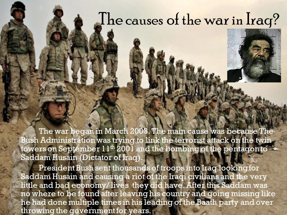 causes of 2003 us iraq war Iraq war: iraq war, (2003–11), conflict in iraq that consisted of two phases the first of these was a brief, conventionally fought war in march–april 2003, in which a combined force of.