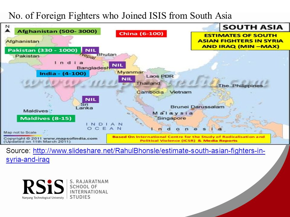 No. of Foreign Fighters who Joined ISIS from South Asia