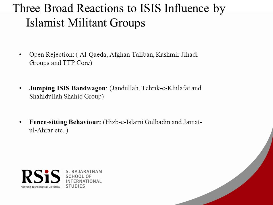 Three Broad Reactions to ISIS Influence by Islamist Militant Groups