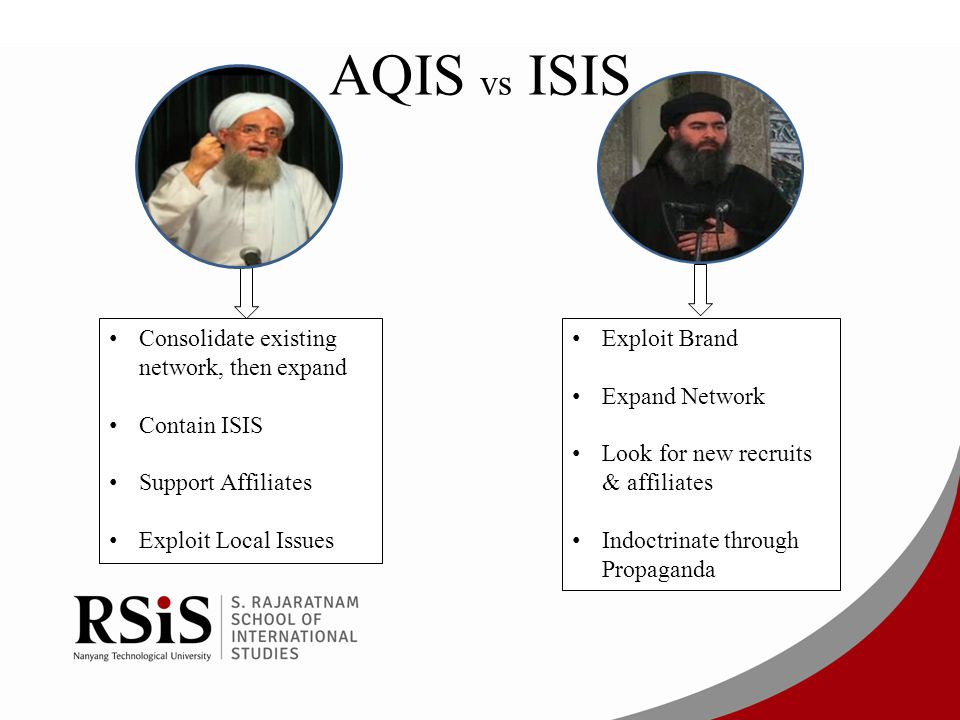 AQIS vs ISIS Consolidate existing network, then expand Contain ISIS