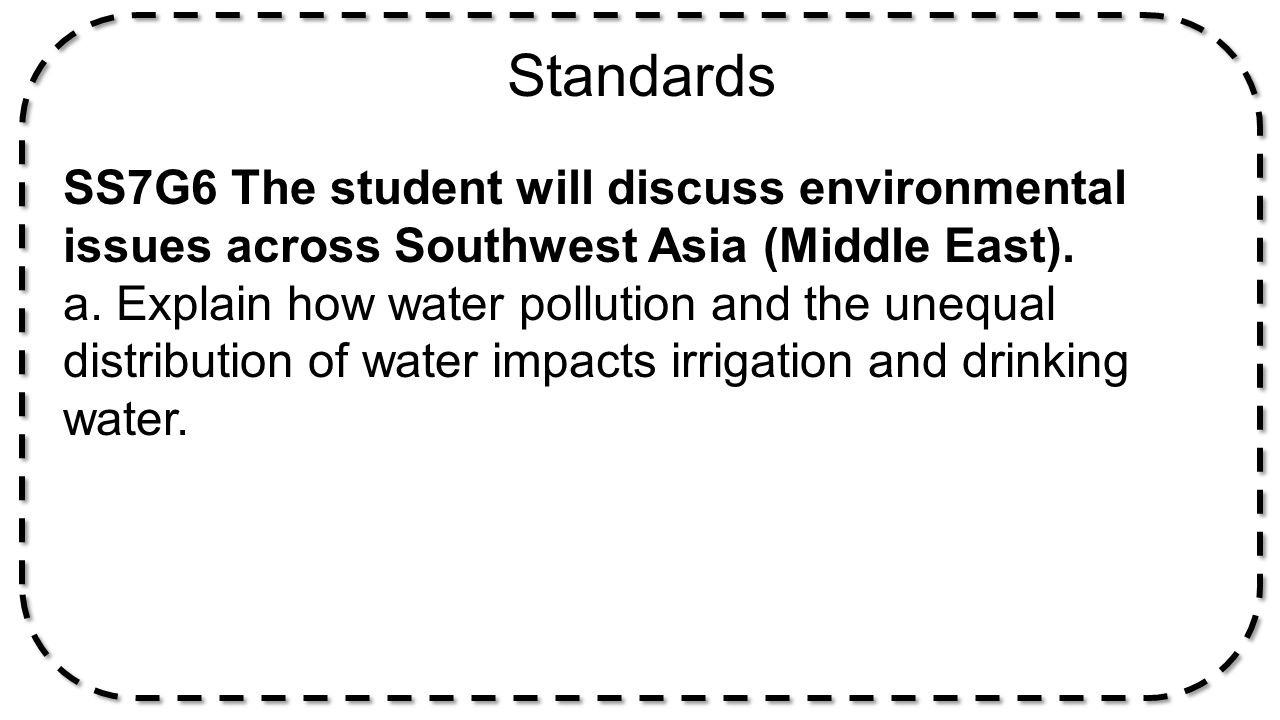 Standards SS7G6 The student will discuss environmental issues across Southwest Asia (Middle East).