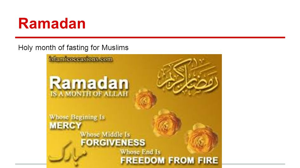 Ramadan Holy month of fasting for Muslims