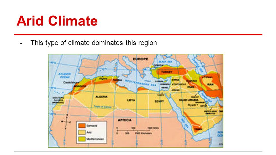 Arid Climate This type of climate dominates this region