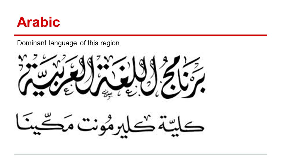 Arabic Dominant language of this region.